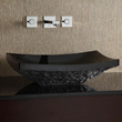 GRVE158RBKR - Rectangular Stone Vessel - Black Granite (rough exterior) - Xylem