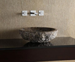 MAVE172CDER - Round Stone Vessel - Dark Emperador Marble (rough exterior) - Xylem