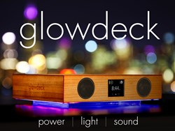 Glowdeck combines light, sound via speakers and built in microphone, and wireless charging.