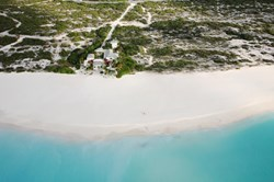 An aerial view of Coral House, Grace Bay Beach, Turks and Caicos Islands.