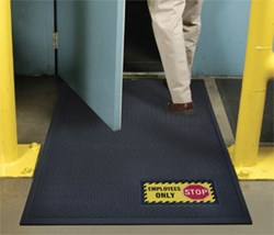 Superscrape Sign Mats are rubber, indoor-outdoor scraper mats featuring a bright, molded sign message - photo
