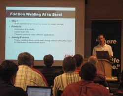 Tim Stotler teaches welding engineering and technology at an EWI training class.