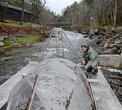Researchers use a 'smolt wheel' to monitor outgoing salmon smolt