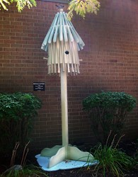 birdhouse made with baseball bats