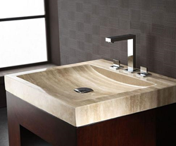 "SVT240TR - 24"" Stone Bathroom Vanity Top with Integrated Bowl - Beige Travertine - Xylem"