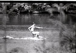 Charles water skiing on a chair at Sunninghill Park June 1970
