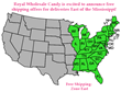 Royal Wholesale Candy Free Shipping Zone Map