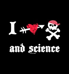 Geeky graphic t shirt I Love Pirates and Science from Tees For Your Head