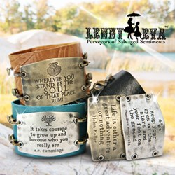 Image of Lenny and Eva Jewelry Bracelets and sentiments on a rock with Lenny and Eva logo.