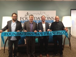 (L-R) Joby Pritzker, Foundations Recovery Network CEO, Rob Waggener, Dr. Perry Olshan, and Nick Pritzker on August 23, 2013, celebrate the ribbon cutting of Foundations San Francisco.