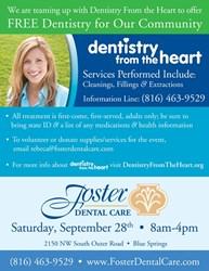 Blue Springs dental practice, Foster Dental Care, providing free dentistry on Saturday, Semptember 28th