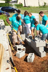 Students helping Shreveport Green build a community garden