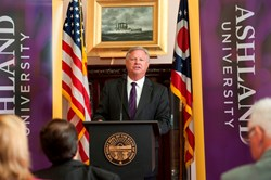 Dr. Fred Finks, president of Ashland University, makes the announcement that Ashland University will cut tuition by more than $10,000 at a news conference at the Ohio Statehouse today.