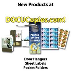 Docucopies.com adds door hangers, sheet labels and pocket folders.