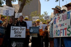Local solar supporters gathered to support the progression of clean energy in California