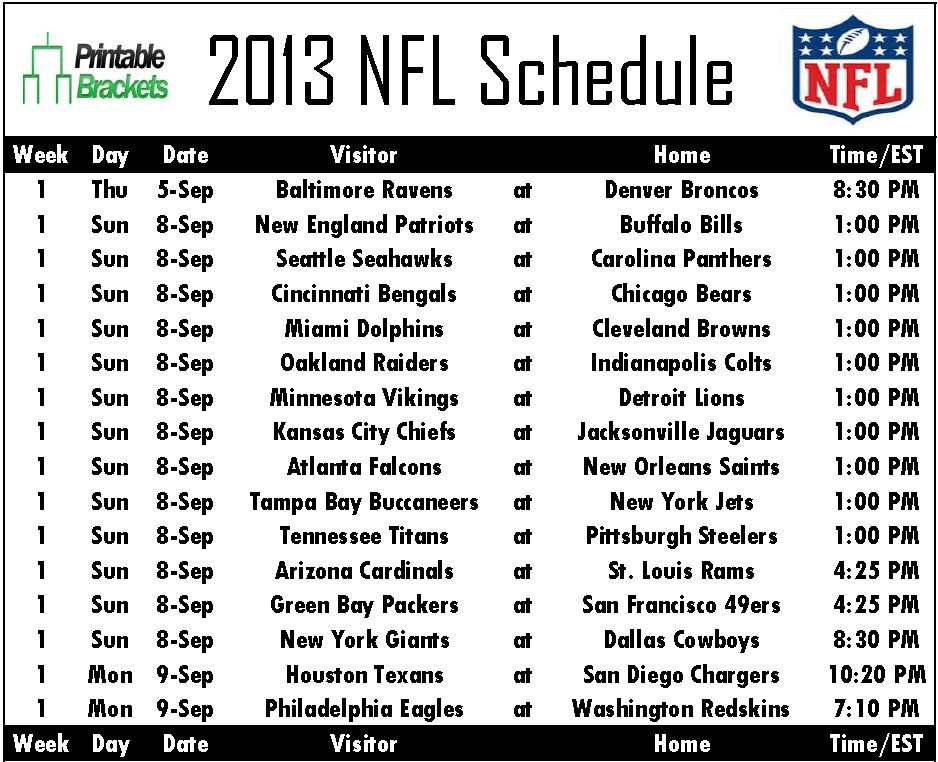 It's just an image of Massif Nfl Weekly Schedule Printable