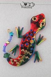 Art jewelry lizard pin by Jim Horn