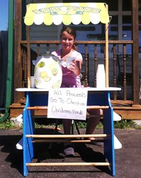 Katelyn Wood of Cobourg, Ontario, selling lemonade for charity.