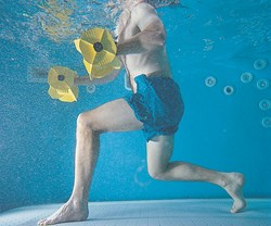 aquatic therapy with dumbbells