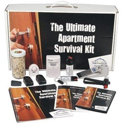 The SafeFamilyLife™ Ultimate Apartment Survival Kit contains an array of products that apartment owners and tenants can use to feel safer and more secure.