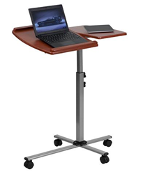 Flash Furniture Angle and Height Adjustable Mobile Laptop Computer Table with Cherry Top NAN-JN-2762-GG