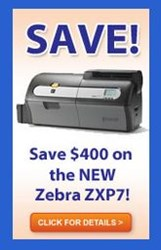 Save $400 on the Zebra ZXP7 card printer through Sept. 30, 2013 at IDCardGroup.com