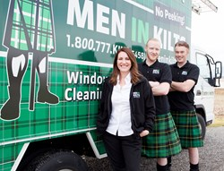 Men In Kilts CEO Tressa Wood [left], Kilted Technician Brandon Fitzpatrick [center], and Founder Nicholas Brand [right]