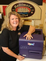 Baltimore Coffee and Tea Linda Lang with Kiaro! label printer