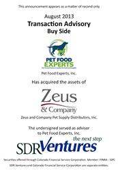 Pet Food Experts Acquires Zeus & Co.