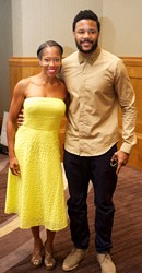 Regina King and Hosea Chanchez with Hairifnity at MegaFest