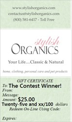 sample Stylish Organics gift certificate