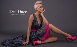 Ralina Denim Lace and Fuchia Silk Dress.