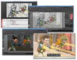 Image showing the storyboard drawing in Redboard, the corresponding layout in Autodesk's Maya and an initial render pass.