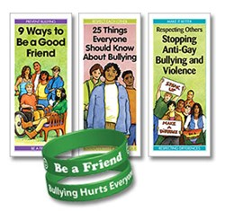 """Pamphlets: """"9 Ways to Be a Good Friend; 25 Things Everyone Should Know About Bullying; Respecting Others: Stopping Anti-Gay Bullying and Violence; Be a Friend. Bullying Hurts Everyone Wristband."""