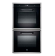 """Bertazzoni FD30CONXE 30"""" Double Electric Wall Oven with 4.1 cu. ft. Dual Fan Convection Ovens, Pyrolytic Self Clean, 4 Heating Elements and Combo Control Interface: Matt Black Anodized Metal Handle"""