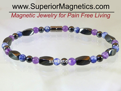 Magnetic ankle bracelet made with amethyst and sodalite gemstones