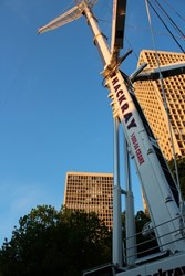 Thackray Crane Rental performing equipment lift for landmark Society Hill Towers Center City Philadelphia PA high rise apartment building.