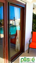 Plissé Retractable Screen on Sliding Glass Door in Caribbean