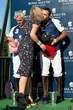 Bazaars Avril Graham presents Royal Salute captain Facundo Pieres with the a Cartier prize at the Royal Salute Jubilee Cup polo match