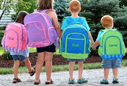 A retailer advertising Personalized kids backpacks.