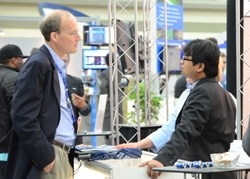 The busy exhibition floor is a perfect place to explore dual-use technology opportunities; above, part of the crowd on the floor at SPIE DSS 2013.