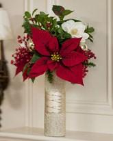 Poinsettia & Magnolia Vase