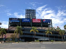 CashCall's banner, as seen from the parking lot of Angel Stadium in Anaheim, California.