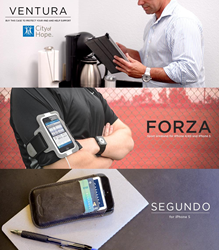 Ventura iPad folio, Forza iPhone armband, and Segundo iPhone wallet case.