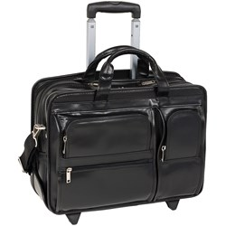 Mcklein Usa Clinton P Series 17 Inch Leather Rolling Briefcase is designed for 21st century businessman.