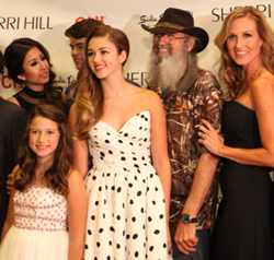 Sadie Robertson and Uncle Si at Sherri Hill redcarpet during Fashion Week