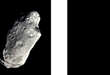 Fig. 3. In the left, a matter-asteroid detected with Sun light and, in the right, a possible undetected antimatter-asteroids.