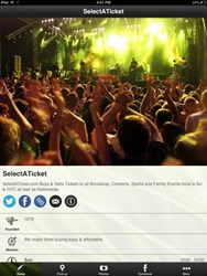 Select-A-Ticket's Mobile App Home Screen