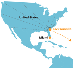 Jacksonville Sub Sea Cable Landing Station Map