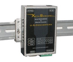 Serial Ethernet converter XS1000 shown as DIN mounted